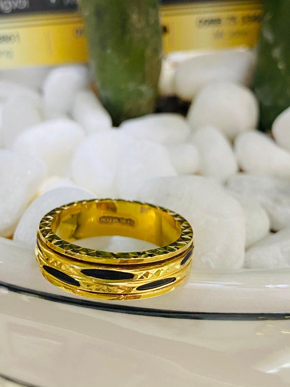 Nhẫn xoay vàng 18K luồng 2 sợi Lông (lông FAKE) độc đáo