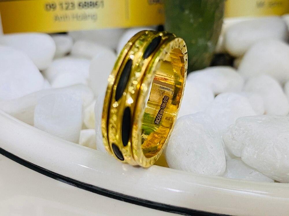 Nhẫn xoay vàng 18K luồng 2 sợi Lông (lông FAKE) đẹp