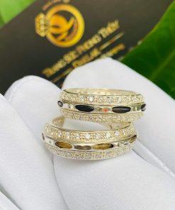 Cặp nhẫn bạc 2 hàng đá trắng độc đáo và thu hút