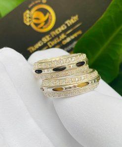 Cặp nhẫn bạc 2 hàng đá trắng tinh tế có luồng lông voi
