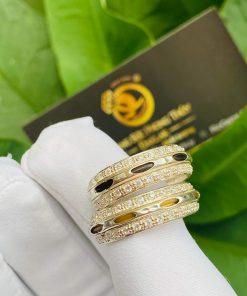 Cặp nhẫn bạc 2 hàng đá trắng luồng 1 sợi lông voi đen trắng gia công đẹp
