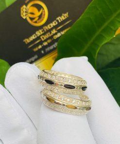 Cặp nhẫn bạc 2 hàng đá trắng chất lượng
