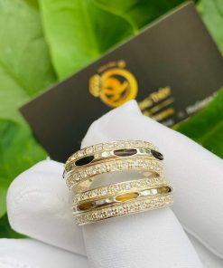 Cặp nhẫn bạc 2 hàng đá trắng luồng 1 sợi lông voi đen trắng