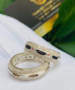 Cặp nhẫn bạc 2 hàng đá trắng luồng 1 sợi lông voi đen trắng gia công đẹp tại RIOGEMs