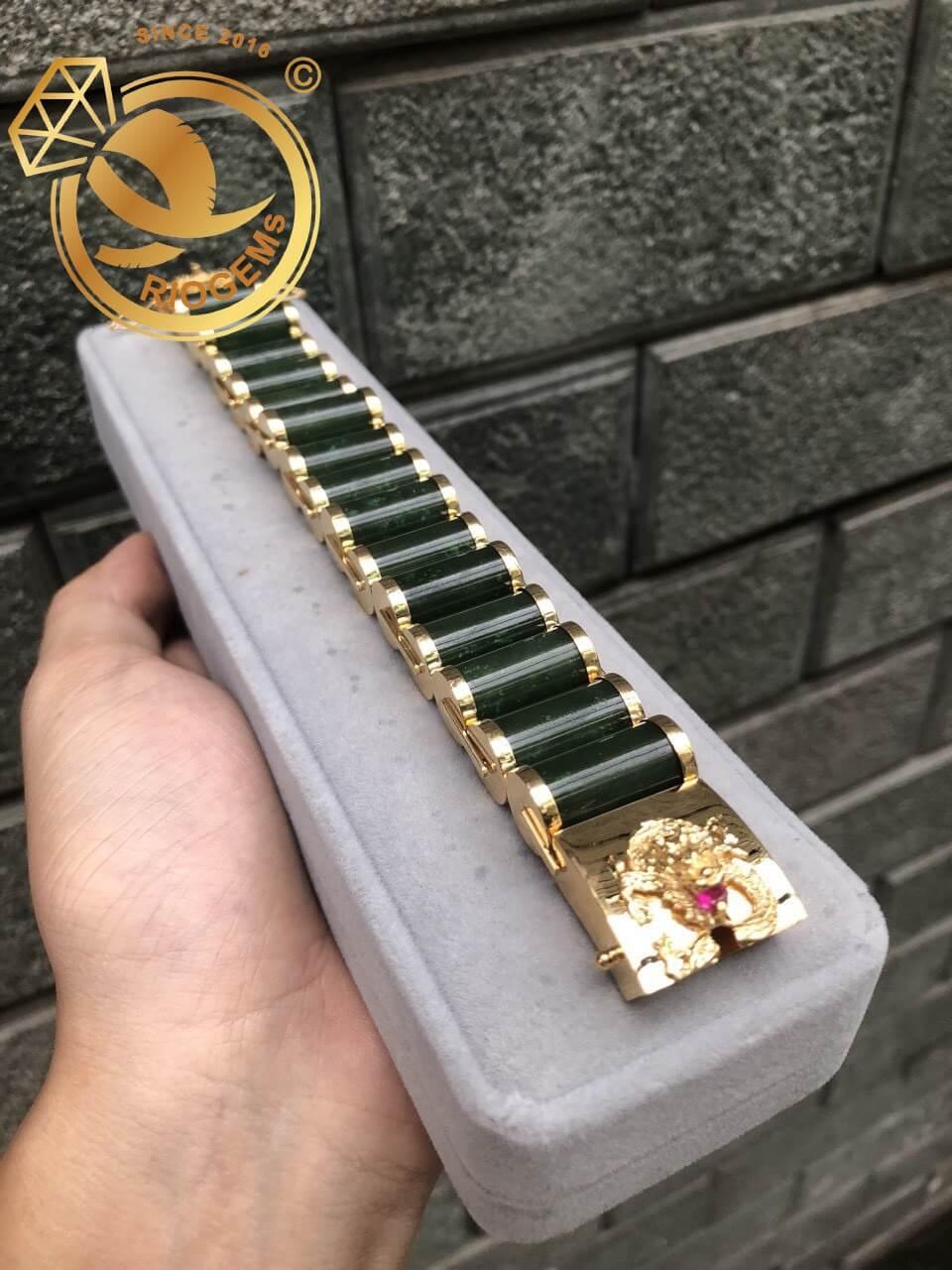 Lắc tay mắc xích Ngọc Bích cho nam vàng phong thủy