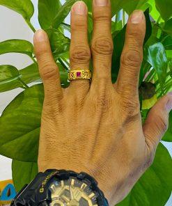 Nhẫn kim tiền mặt đá Cz vuông phong thủy chất lượng