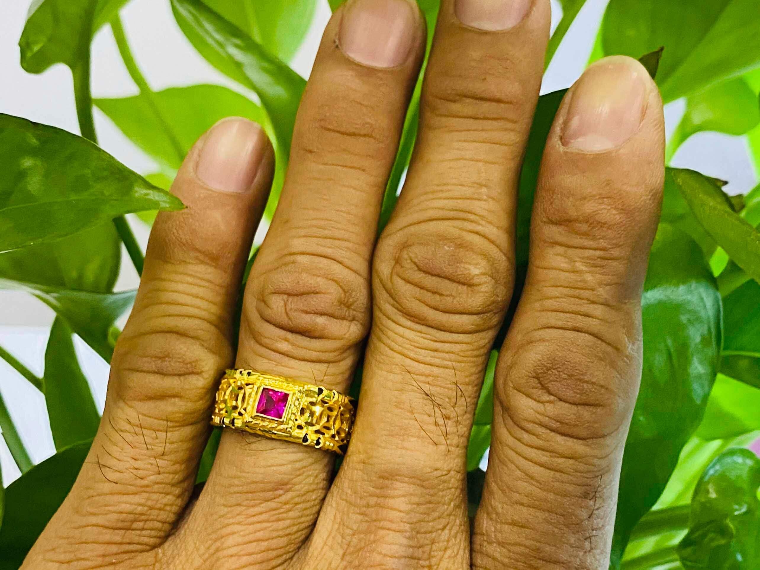 Nhẫn kim tiền mặt đá Cz vuông phong thủy