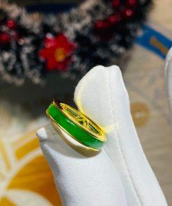 Nhẫn ngọc Jadeite bọc 5 đồng tiền phong thủy