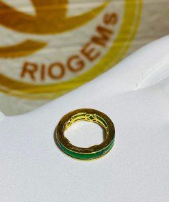 Nhẫn ngọc Jadeite bọc 5 đồng tiền phong thủy đeo ngón út