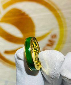 Nhẫn ngọc Jadeite bọc 5 đồng tiền bằng vàng siêu chất
