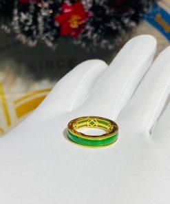 Nhẫn ngọc Jadeite bọc 5 đồng tiền bằng vàng giá tốt