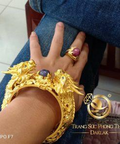 Vòng tay 2 Rồng vàng khủng Sapphire gia công tỉ mỉ