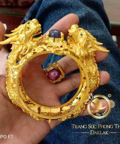 Vòng tay 2 Rồng vàng khủng Sapphire gia công chất lượng