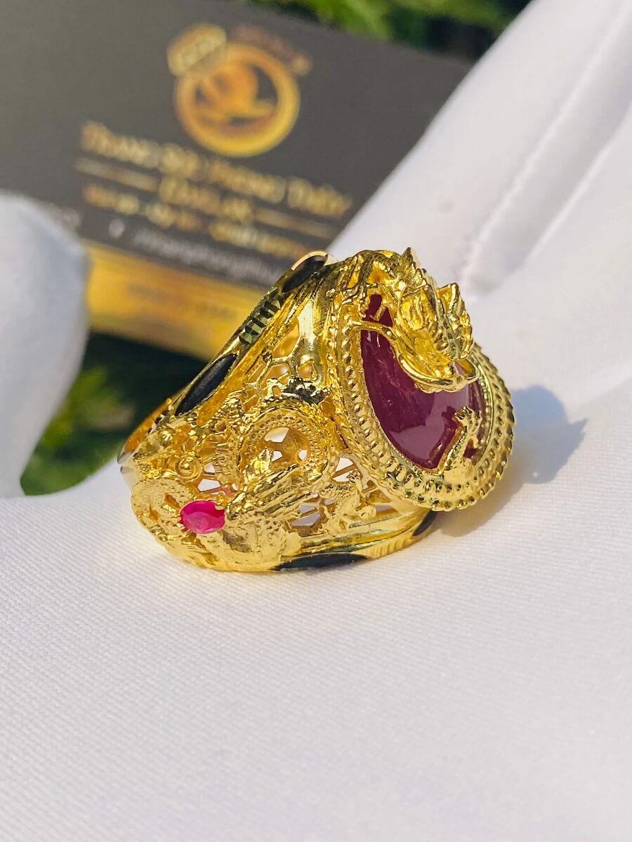 Nhẫn Rồng cuộn vàng ngậm ngọc Ruby Luồng 2 sợi Lông FAKE chất lượng