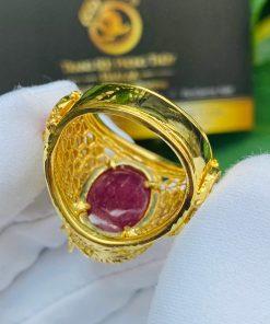 Nhẫn Rồng cuộn vàng ngậm ngọc