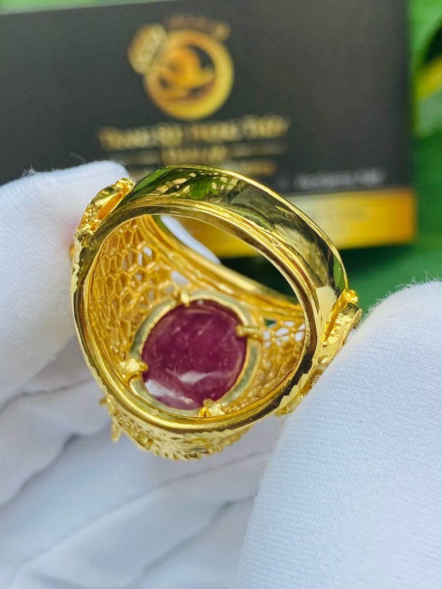 Nhẫn Rồng cuộn vàng ngậm ngọc Ruby Luồng 2 sợi Lông FAKE độc đáo