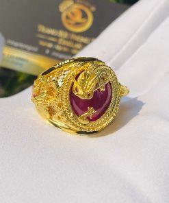 Nhẫn Rồng cuộn vàng ngậm ngọc Ruby lông voi
