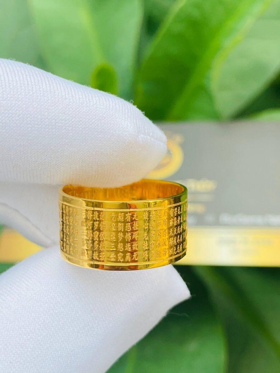 Nhẫn Bát Nhã Tâm Kinh nam nữ VÀNG 18K – Bảng 10mm gia hộ