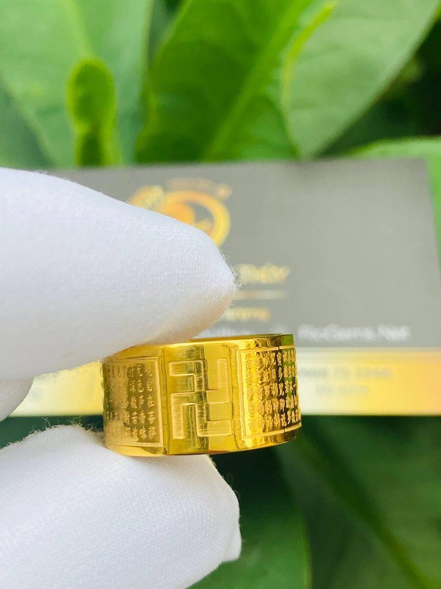 Nhẫn Bát Nhã Tâm Kinh nam nữ VÀNG 18K – Bảng 10mm chất