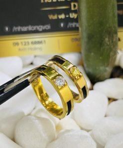 Nhẫn cưới Lông Voi đính đá Cz màu hợp mệnh phong thủy
