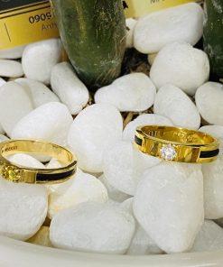 Nhẫn cưới Lông Voi đính đá Cz