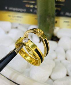 Nhẫn cưới Lông Voi đính đá Cz màu đẹp