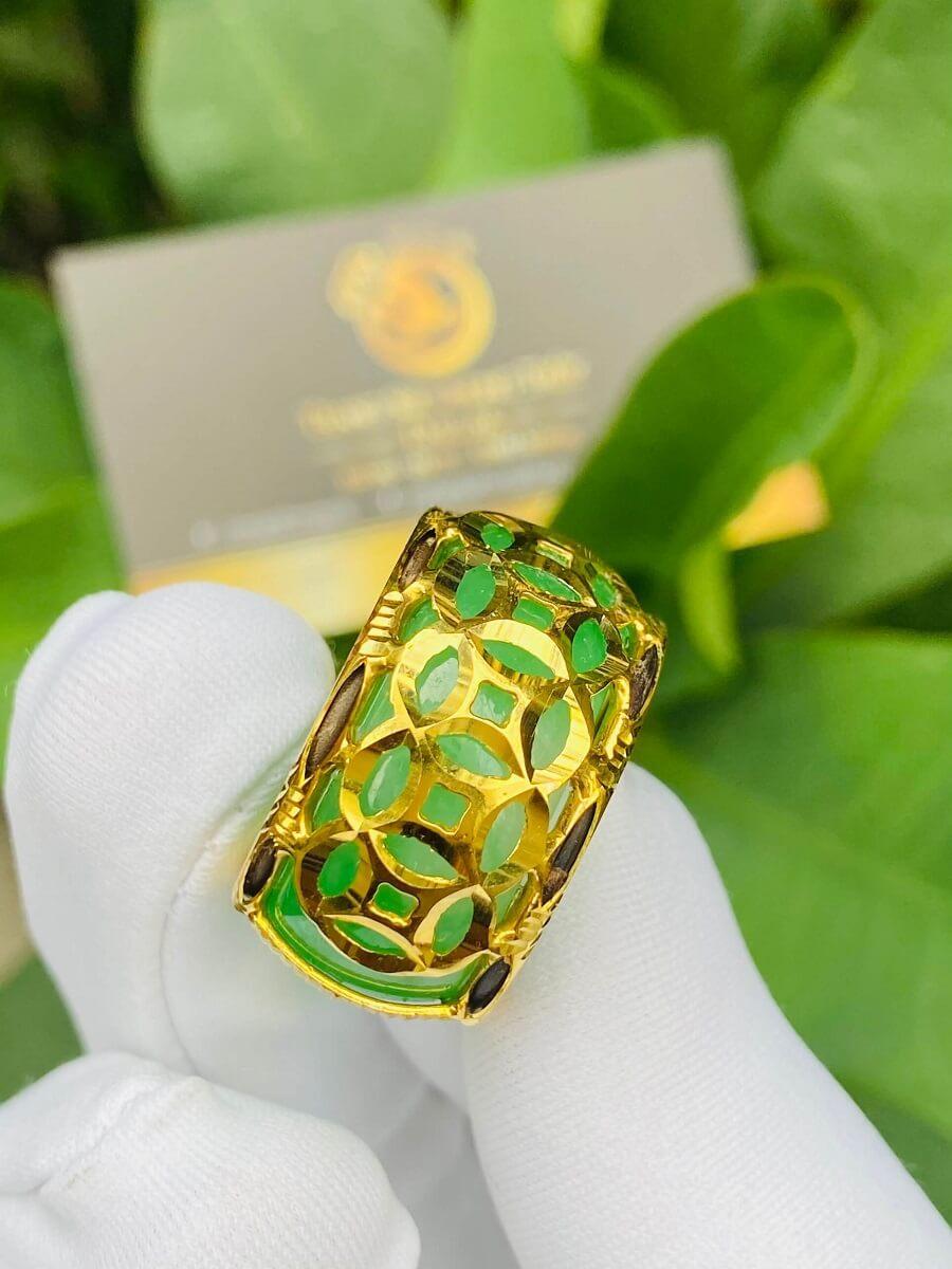 Nhẫn ngọc Cẩm Thạch 5 Đồng Tiền bọc vàng 18K chất
