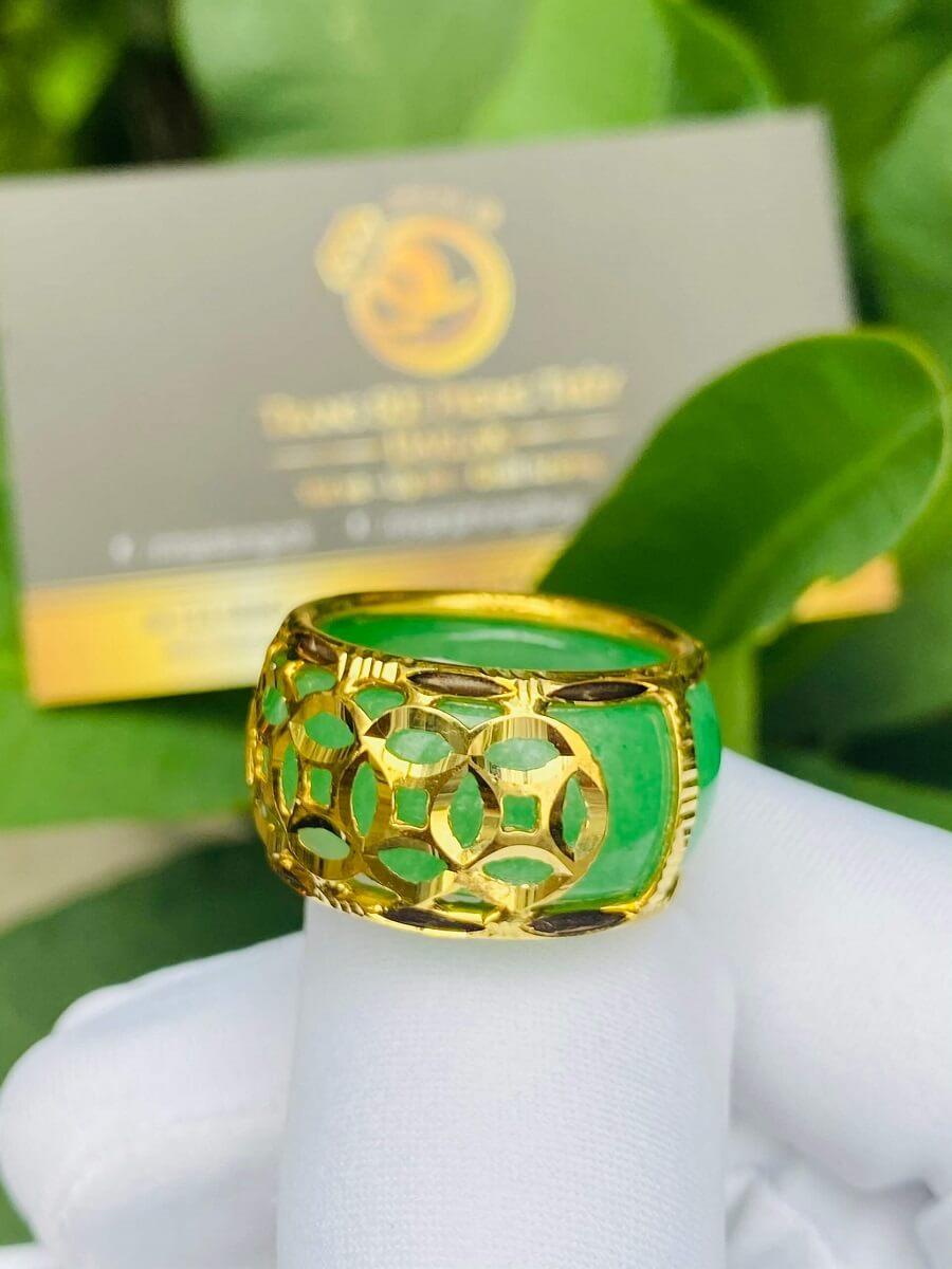 Nhẫn ngọc Cẩm Thạch 5 Đồng Tiền bọc vàng 18K hàng tốt