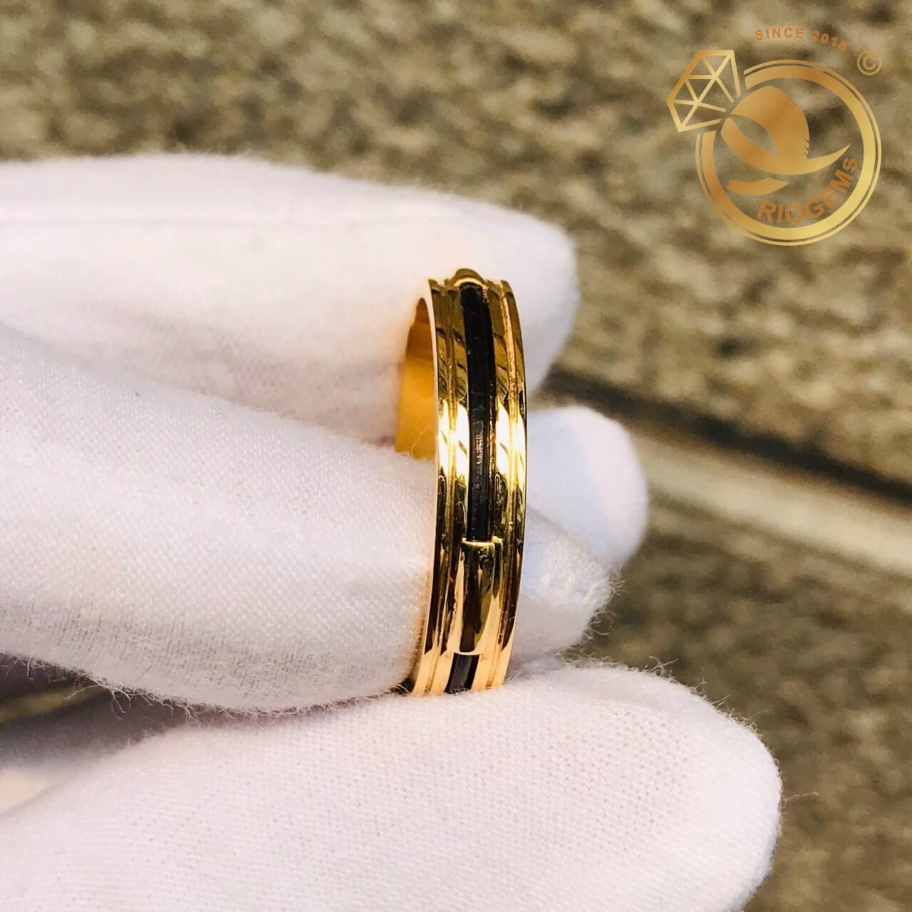 Nhẫn Lông Voi nam nữ 2 rãnh vàng 18K luồng 1 đường lông (lông FAKE) cho nam nữ
