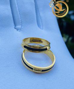 Cặp nhẫn vàng luồng 1 lông voi ngoài 2 rãnh 2021 chuẩn vàng 18K Riogems