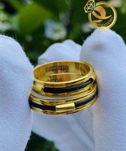 Cặp nhẫn vàng luồng 1 lông voi ngoài 2 rãnh mẫu mã đơn giản