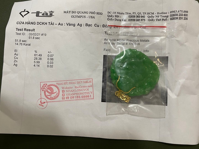 Giấy phổ vàng Mặt Phật Di Lặc ngọc Jadeite (Ngọc Cẩm Thạch) Riogems