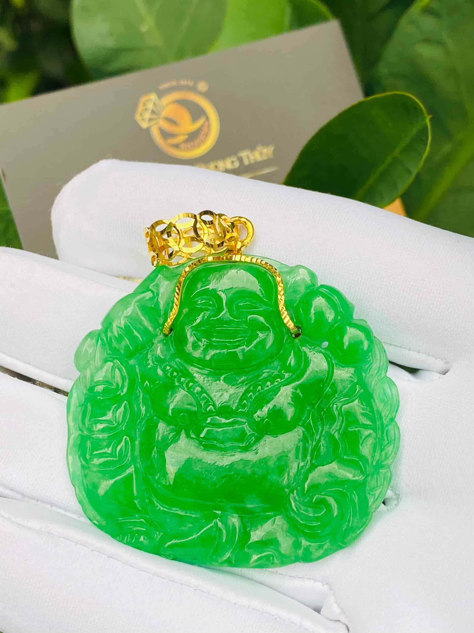 Mặt Phật Di Lặc ngọc Jadeite (Ngọc Cẩm Thạch) Riogems