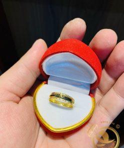 Nhẫn 1 sợi Lông Voi 2 vành xoắn vàng 18K
