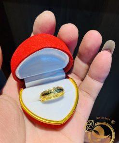Nhẫn 1 sợi Lông Voi 2 vành xoắn vàng 18K sang trọng