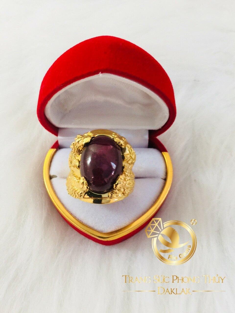 Nhẫn Tứ Linh Long Lân Quy Phụng chầu Ngọc Ruby