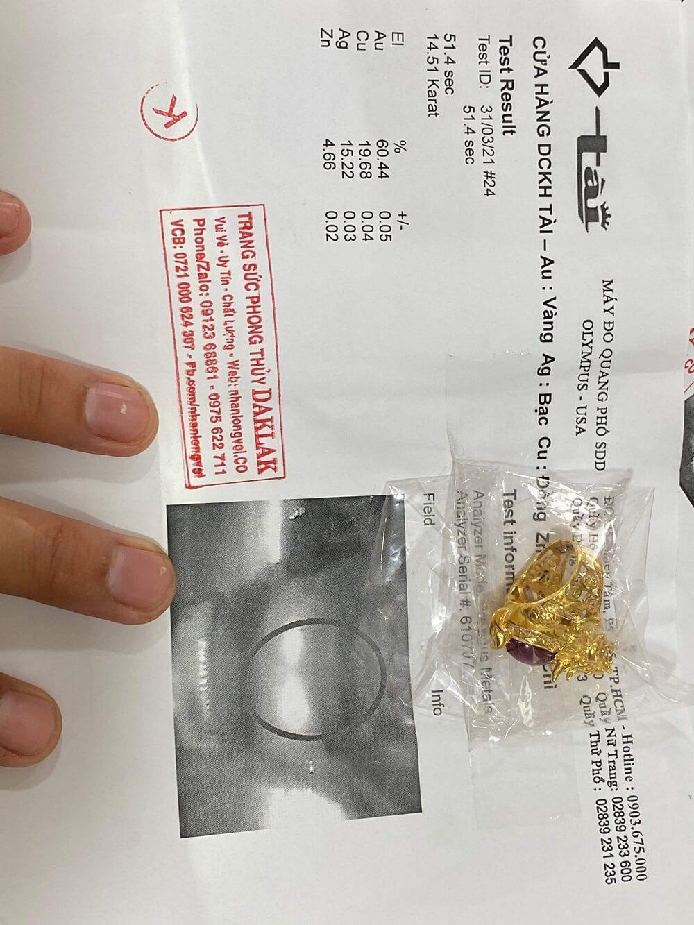 giấy chứng nhận Nhẫn long quy MINI lưng Ruby sao viền 12 viên kim cương tấm 2li