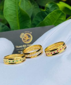 Nhẫn nam nữ vàng 18K luồng 2 lông voi chạy đá tấm phong thủy đẹp