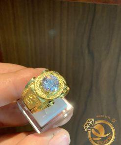 Nhẫn nam vàng 18K đính Kim cương