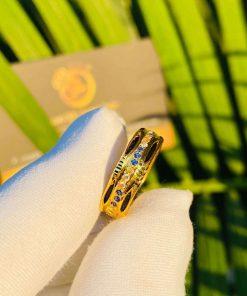 Nhẫn nữ phong thủy đính hàng 3 đá luồng 2 (Lông FAKE) đẹp