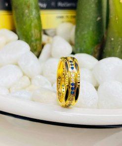 Nhẫn nữ phong thủy đính hàng 3 đá luồng 2 (Lông FAKE) chất