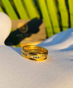 Nhẫn nữ phong thủy đính đá xanh dương