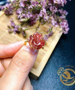 Nhẫn vàng Hồ Ly Thạch anh tóc đỏ thời trang