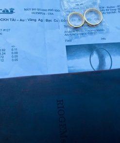 Nhẫn nữ vàng 18K luồng 1 lông ngoài 2 rãnh