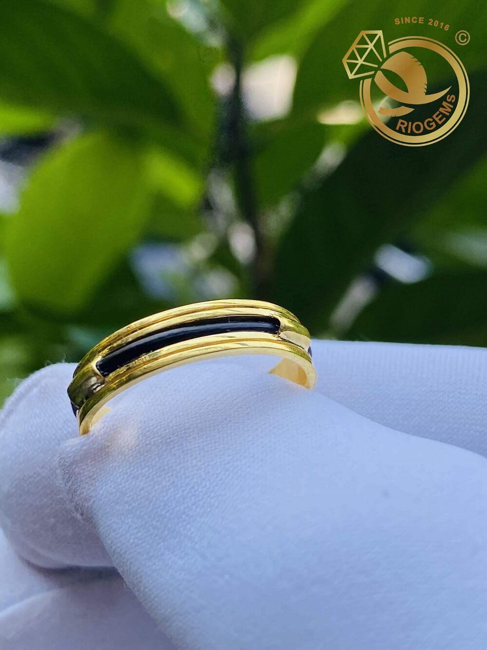 Nhẫn nữ vàng 18K luồng 1 lông ngoài 2 rãnh nam nữ đều đeo được