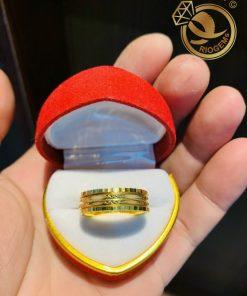 Nhẫn xoay 2 sợi Lông Voi trắng song song vàng 18K độc đáo