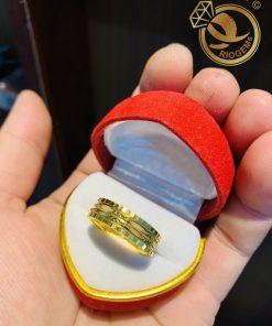 Nhẫn xoay 2 sợi Lông Voi trắng song song vàng 18K thiết kế nổi bật