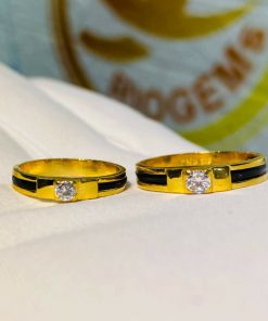 Nhẫn cưới kim cương gắn lông voi