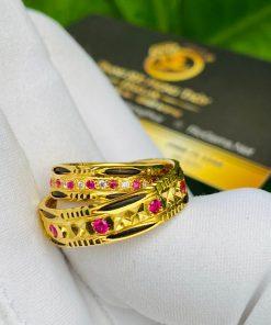 Nhẫn đôi đính đá dành cho nam nữ