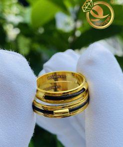 Cặp nhẫn vàng luồng 1 lông voi ngoài 2 rãnh cho các cặp đôi